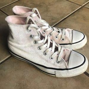 PINK *crushed velvet* Converse Hi-Tops